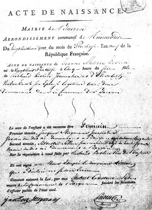 1801 dutch birth certificate