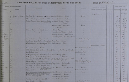 1885 Scotland Valuation Roll