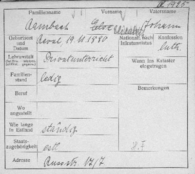 Estonia German citizenship card 1925