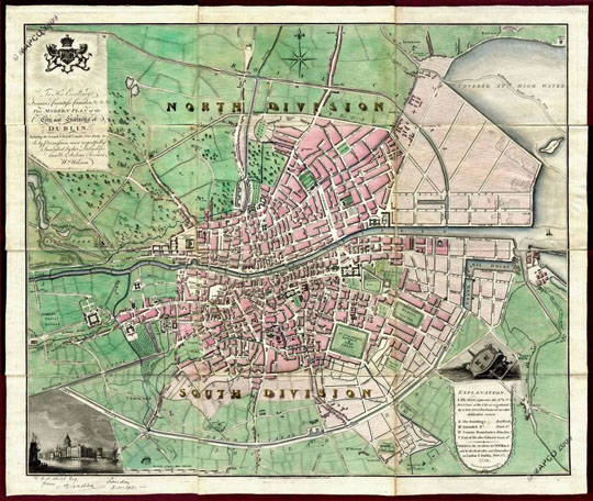 old map of Dublin Ireland