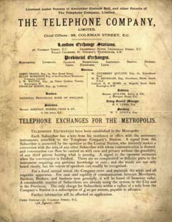 England 1880 telephone book