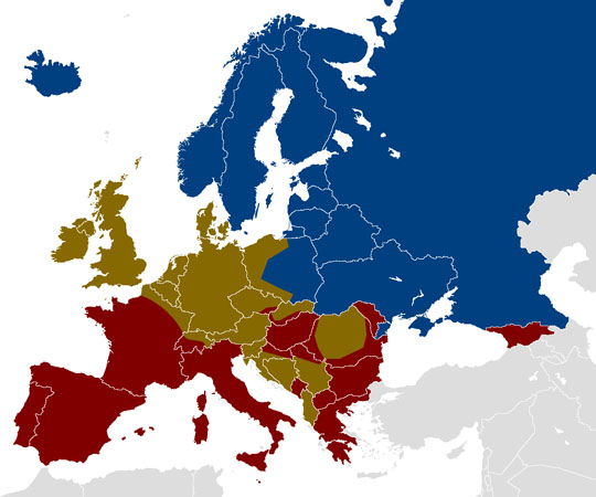 map of Europe showing alcohol bands or favoured drinks by country
