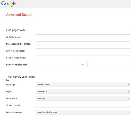 Image of the Google Advanced Search page