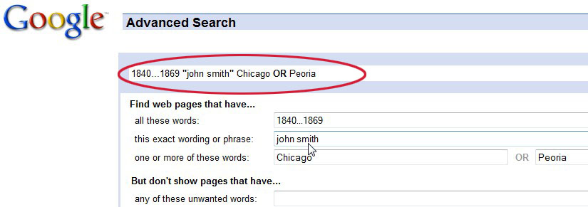 genealogy search using Google Advanced Search page
