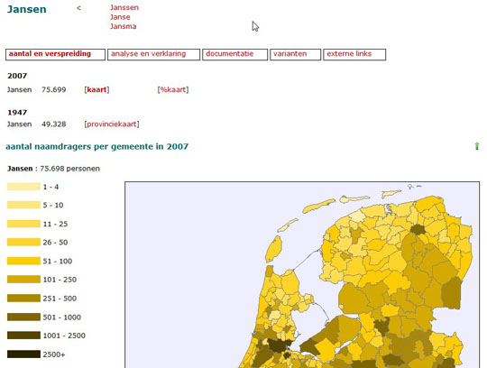 dutch surname distribution