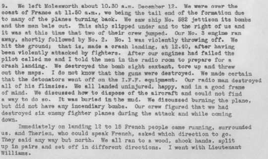 World War II soldier escape report