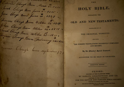 early English family bible with genealogical notations