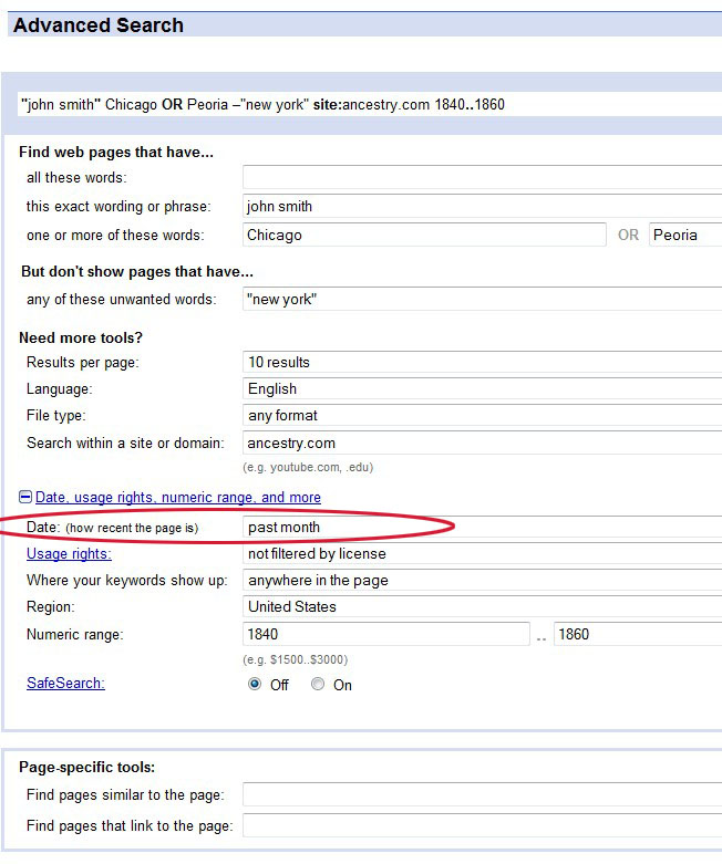 image showing how to search for recent records with Google Advanced Search