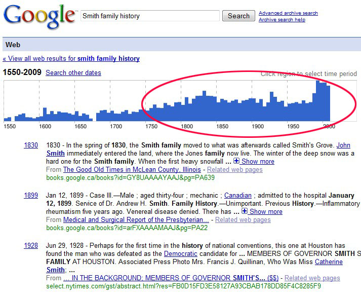 search google results timeline for family surname