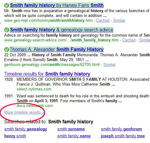 Google search surname timeline