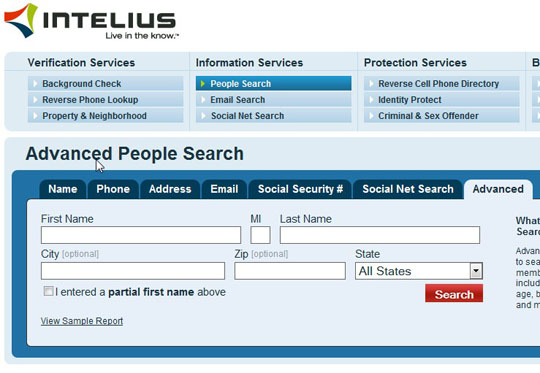 intelius advanced people search page