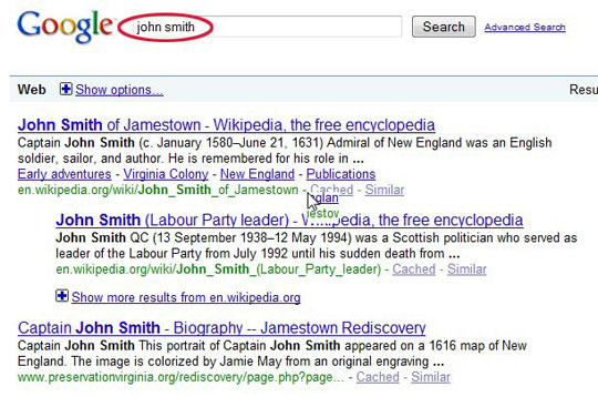 John Smith search from Google.com