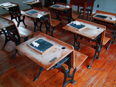 old schoolhouse desks
